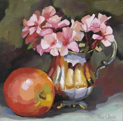 """Geraniums in Silver with Apple"" original fine art by Joanna Olson"