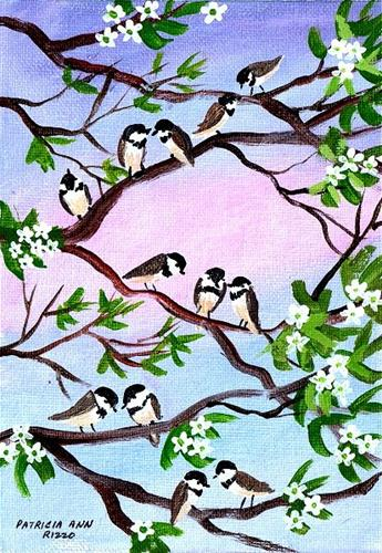 """Twelve Little Chickadees"" original fine art by Patricia Ann Rizzo"