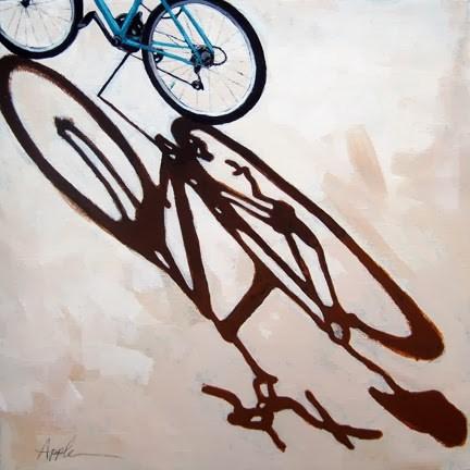 """Long Day shadows cycling bike art original painting"" original fine art by Linda Apple"