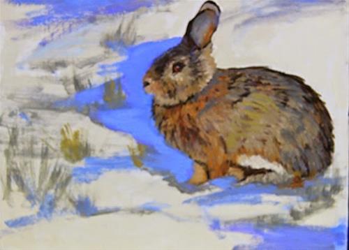 """Colorado Wildlife Rabbit Oil Painting Wabbit by Colorado Artist Susan Fowler"" original fine art by Susan Fowler"