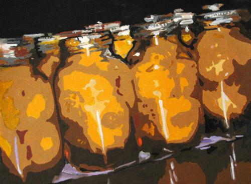 """Peaches in a Row"" original fine art by Nan Johnson"