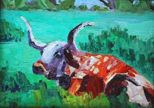 """Longhorn Resting"" original fine art by Liz Zornes"