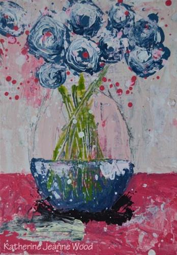 """Blue and pink cottage chic painting No 146"" original fine art by Katie Jeanne Wood"