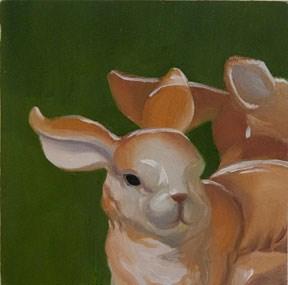 """""""Ceramic Bunny with Reflection"""" original fine art by Jean Wilkey"""