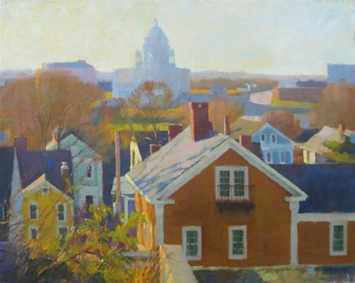 """State house shadow"" original fine art by Kathy Weber"