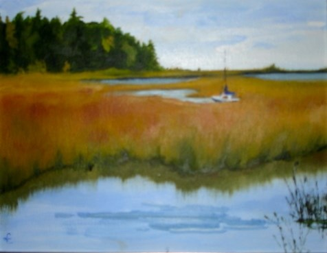 """Drifting away in Door County"" original fine art by Linda Carney"