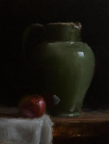"""Jug with Apple"" original fine art by Neil Carroll"
