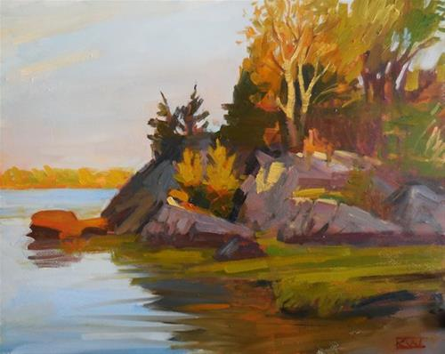 """Early morning, East Bay Bike Path"" original fine art by Kathy Weber"