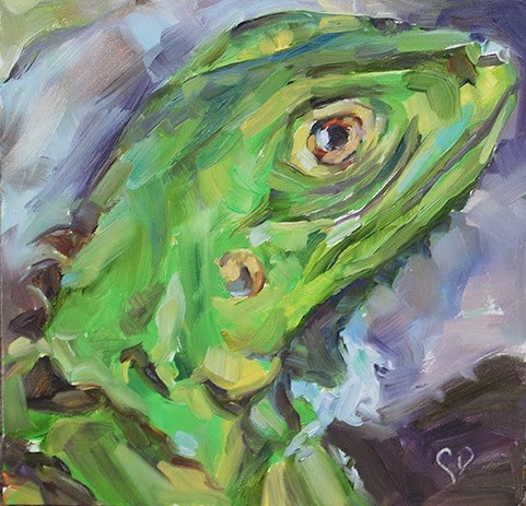 """Day 10 0f 30 - It's Not Easy Being Green"" original fine art by Carol DeMumbrum"