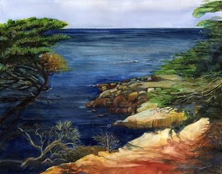 """Watercolor: Monterey Coast"" original fine art by Belinda Del Pesco"