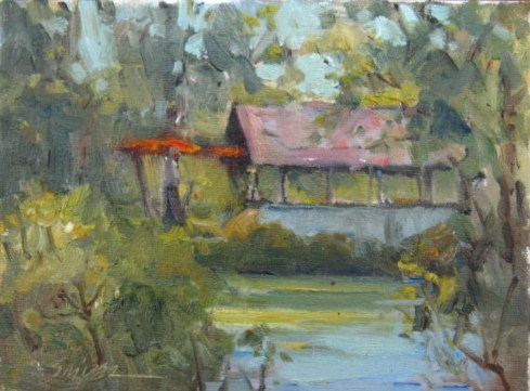 Springhouse at Pearson Pond original fine art by Connie Snipes