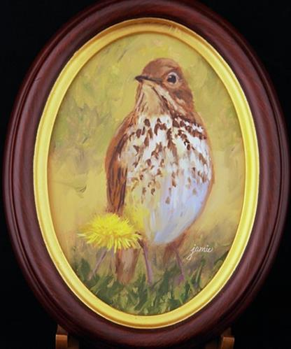 """Hermit Thrush and Her Dandelion, framed"" original fine art by Jamie Williams Grossman"