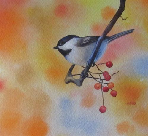 """Chickadee In The Village"" original fine art by Barbara Fox"