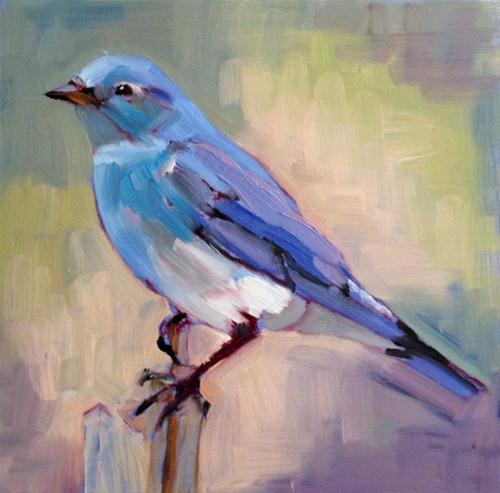 """Blue Bird"" original fine art by Deborah Newman"