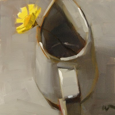 """Yellow in White --- SOLD"" original fine art by Carol Marine"