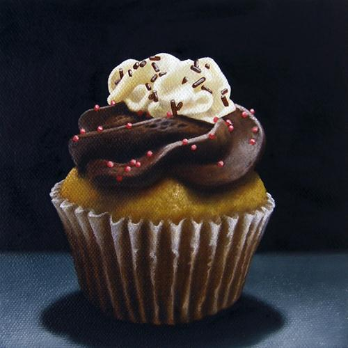 """Cupcake Commission: Boston Cream Pie"" original fine art by Jelaine Faunce"