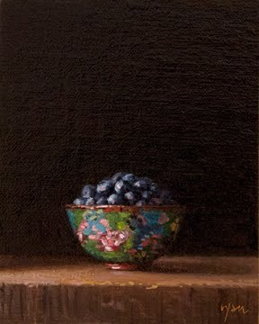 """Blueberries in a Cloisonne Butterfly Bowl"" original fine art by Abbey Ryan"