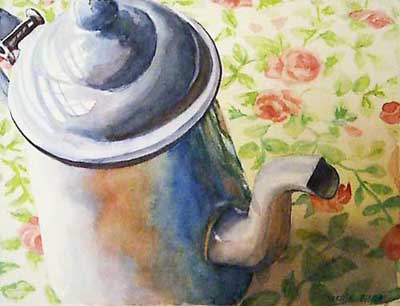"""Mom's Old Coffee Pot"" original fine art by Kara K. Bigda"