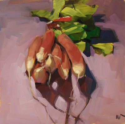 """Radishes on a Hill --- SOLD"" original fine art by Carol Marine"