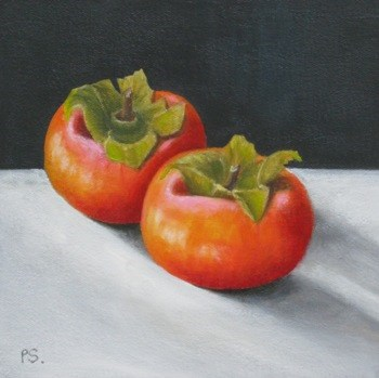 """Persimmons II"" original fine art by Pera Schillings"