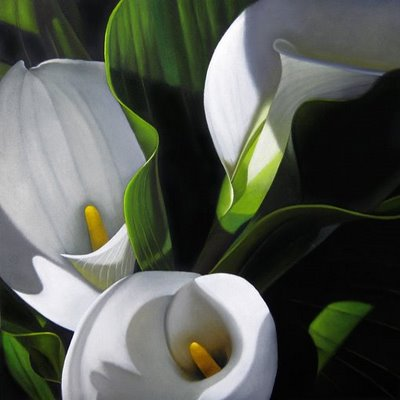 """Lilies in Shadow 10x10"" original fine art by M Collier"