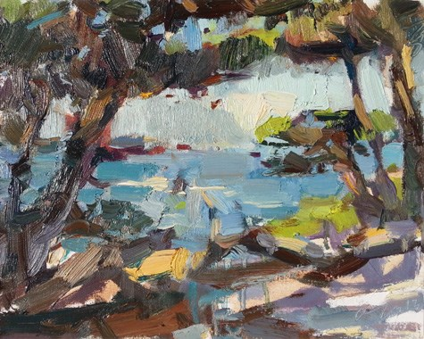 """Painting in California 21 Point Lobos (sold)"" original fine art by Roos Schuring"