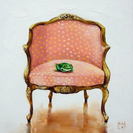 """froggie went a courtin'"" original fine art by Kimberly Applegate"