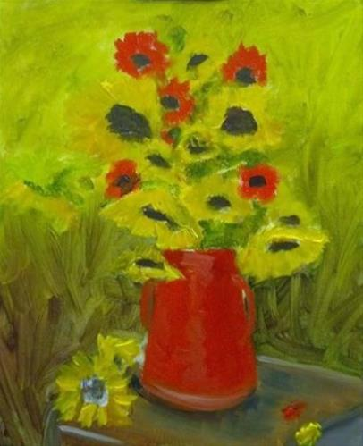 """Sunflowers and Blanket Flowers II"" original fine art by Susan Elizabeth Jones"