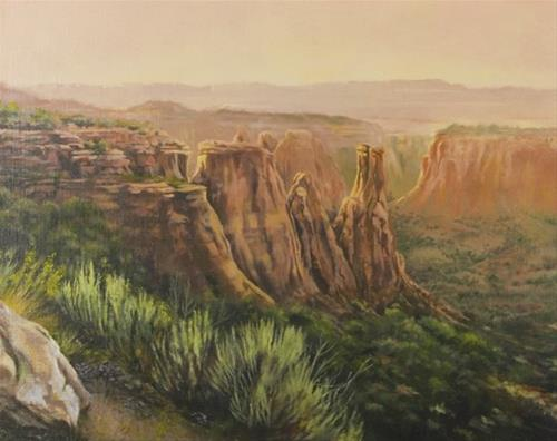 """Original Colorado Mountain Landscape Painting,Kissing Couple at Sunset by Nancee Jean Busse Painte"" original fine art by Nancee Busse"