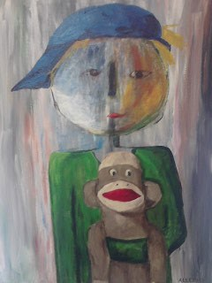 """Marcie's Little Brother - 24 x 18"" original fine art by Jo Allebach"