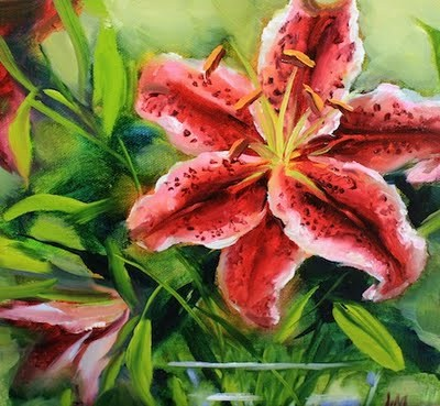 """Moonstruck Stargazer Lily"" original fine art by Nancy Medina"