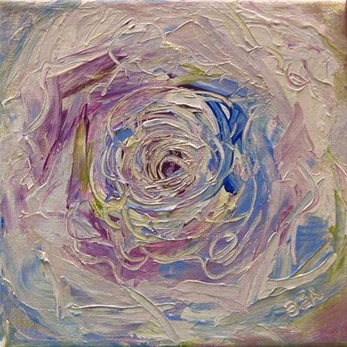"""2038 - Party Rose - Miniature Masterpiece Series - Essence Painting"" original fine art by Sea Dean"