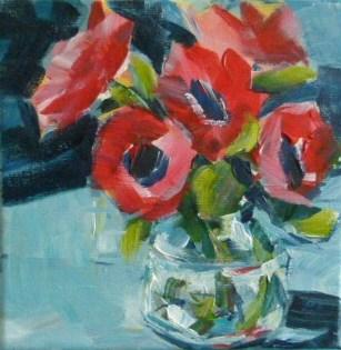 """""""Rote Anemonen"""" original fine art by Sabine Hüning"""