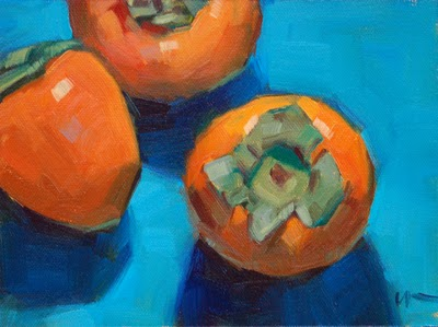 """Persimmons --- SOLD"" original fine art by Carol Marine"