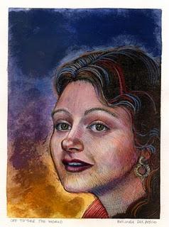 """Monotype: Off to See the World"" original fine art by Belinda Del Pesco"