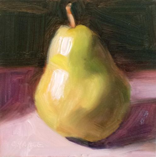 """Pear in the Shadow"" original fine art by Cindy Haase"