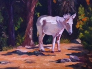 """Sally the Donkey"" original fine art by Liz Zornes"