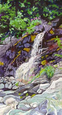 """Waterfall near Reid Inlet"" original fine art by Carole Baker"