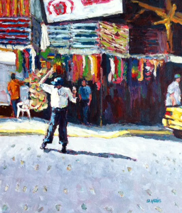 """Puerto Vallarta cross guard"" original fine art by Shelley Garries"