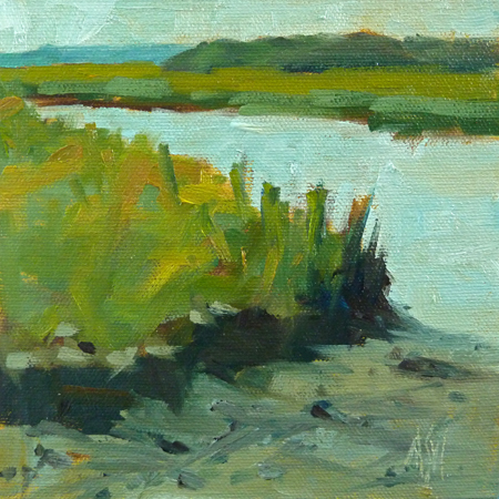 """6x6 Marsh And River oil on RayMar panel"" original fine art by Mary Sheehan Winn"