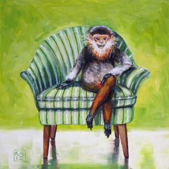 """monkey shrines"" original fine art by Kimberly Applegate"