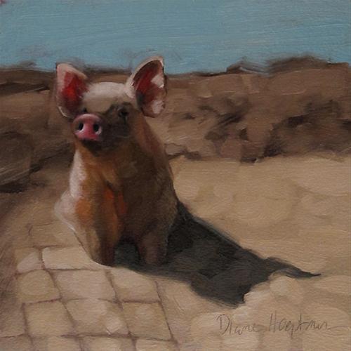 """Pig in Mud oil painting by Diane Hoeptner"" original fine art by Diane Hoeptner"