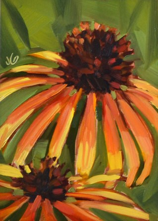"""Orange Coneflowers"" original fine art by Jessica Green"