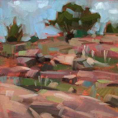 """Pink Rock Hill"" original fine art by Carol Marine"