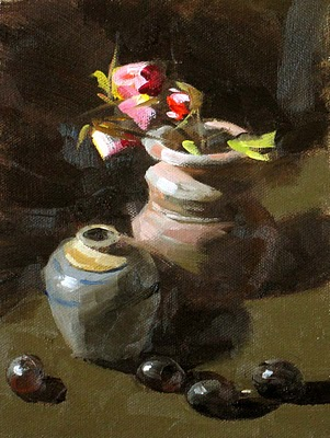 """Two Pots"" original fine art by Qiang Huang"