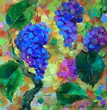 """Painting Silk Scarves and Brilliant Florals in Sonoma, California - Nancy Medina Art"" original fine art by Nancy Medina"