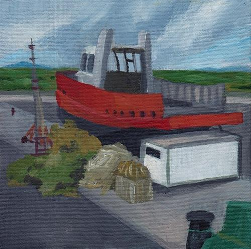 """Red Boat, Westport Quay"" original fine art by J M Needham"