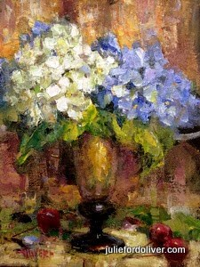"""Hydrangeas"" original fine art by Julie Ford Oliver"