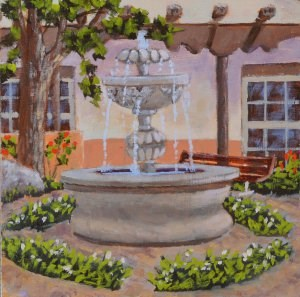 """Courtyard Fountain"" original fine art by Robert Frankis"