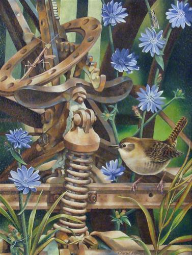 """""""Wren's Playground"""" original fine art by Cheryl Plautz"""